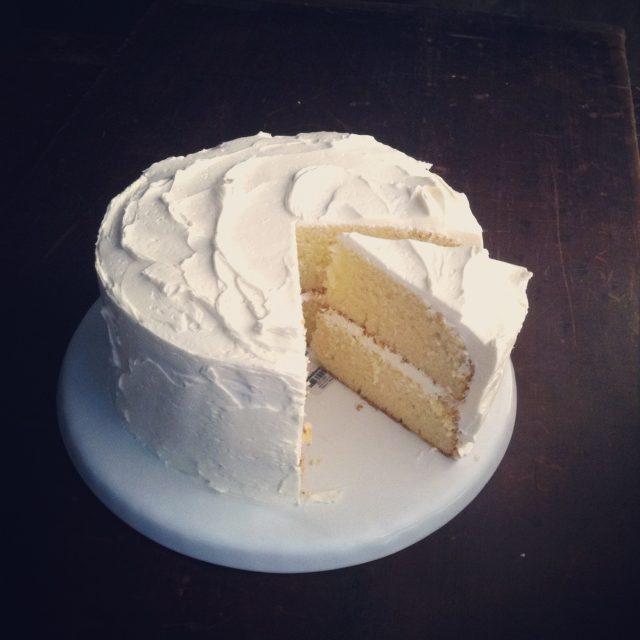 golden vanilla birthday cake