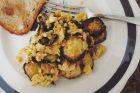 scrambled eggs, zucchini & pecorino