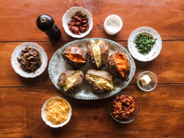 DIY Baked Potato Bar, a quick & easy weeknight dinner. | get the recipe at www.injennieskitchen.com