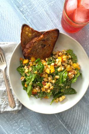 Arugula, Peach & Fresh Corn Salad | In Jennie's Kitchen