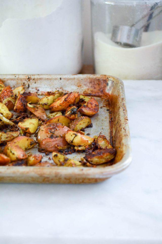 Cheesy Pesto & Fennel Roasted Potatoes Recipe | In Jennie's Kitchen