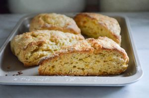 Roasted Peach Scones Recipe | In Jennie's Kitchen