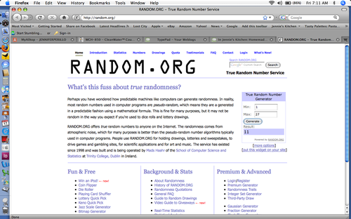 Random.org Cuisinart Giveaway Winner