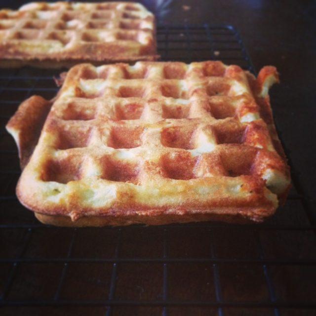 cheddar dried basil waffles