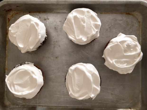 Best Marshmallow Frosting, and only takes 7 minutes to make!   get the recipe at www.injennieskitchen.com