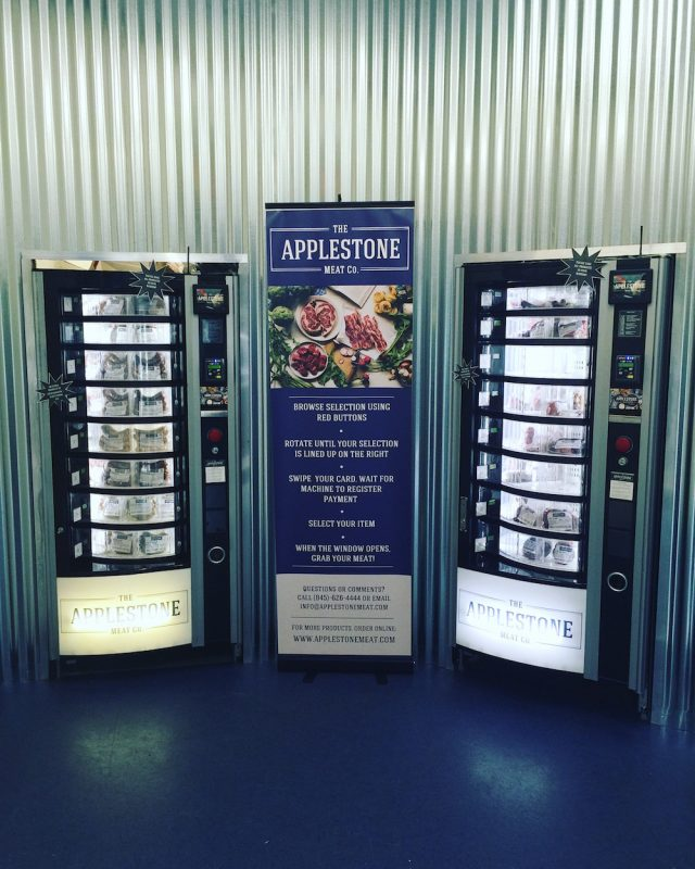 Yes, these are meat vending machines. A brilliant idea from Applestone Meat Co. Best hot dogs I've ever tasted.