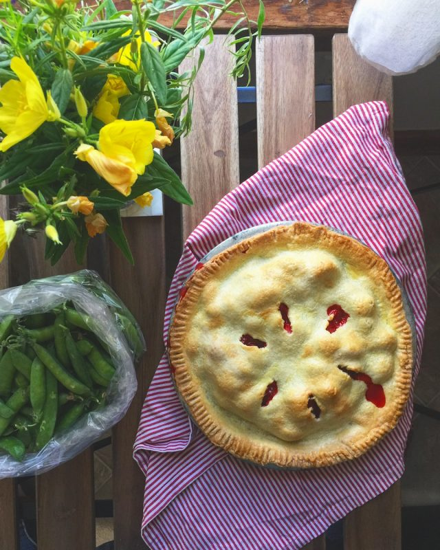 Of course all those strawberries meant pie was in our future.