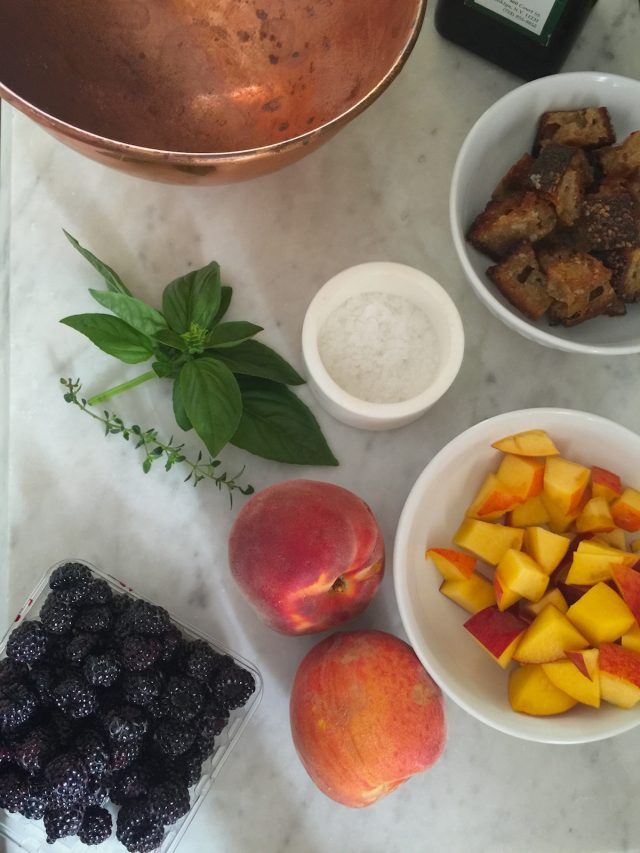 Peach & Basil Panzanella | In Jennie's Kitchen