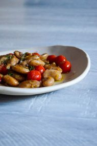 Blistered Butter Beans with Garlic, Tomatoes & Thyme | Recipe at In Jennie's Kitchen