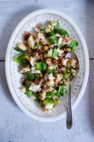Pan Seared Cauliflower Brussels Sprouts Salad | In Jennie's Kitchen
