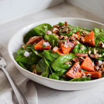 Roasted Sweet Potato, Spinach & Pecan Salad