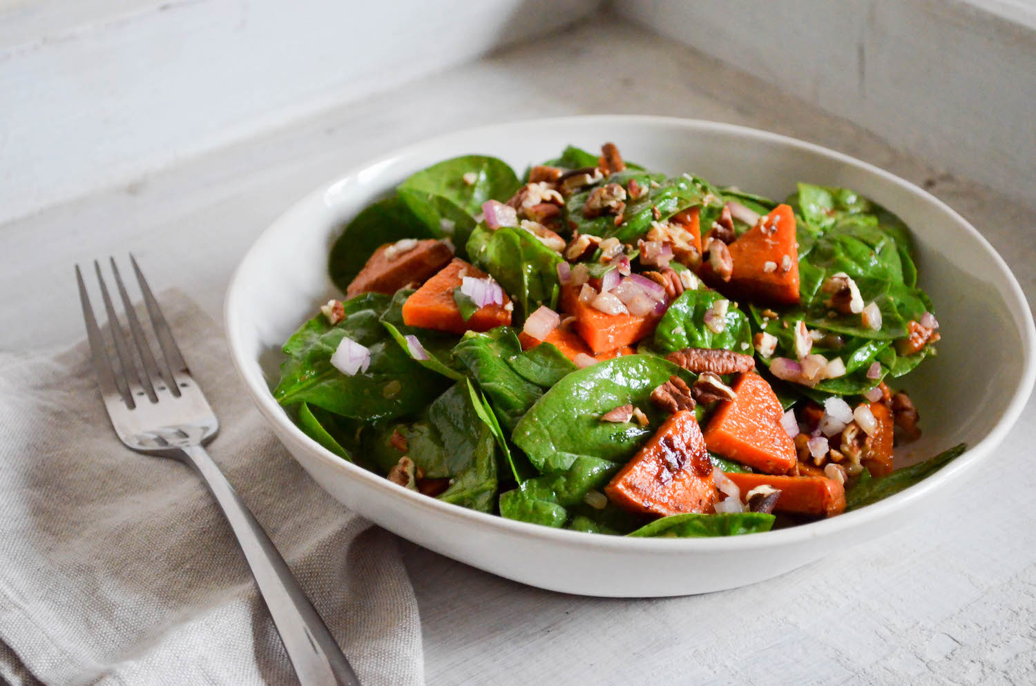 Roasted Sweet Potato Spinach Pecan Salad In Jennie S Kitchen