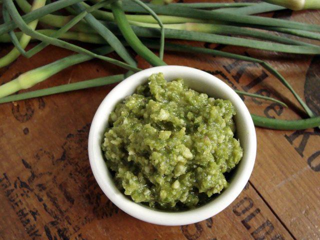 Garlic Scape Pesto | In Jennie's Kitchen