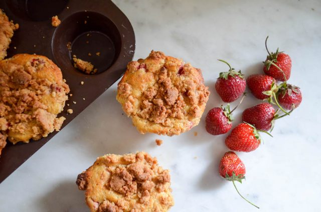 Strawberry Ginger Crumb Muffins | In Jennie's Kitchen