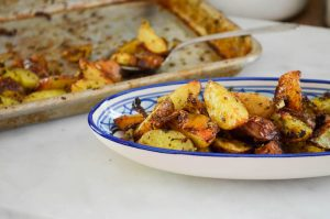 Cheesy Pesto & Fennel Roasted Potatoes Recipe | In Jennie's Kitchen