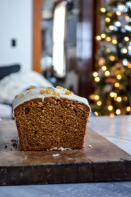 Gingerbread Poundcake with Eggnog Glaze